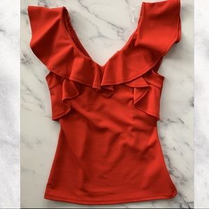 Red Ruffle Sleeveless Top Size Small NWOT
